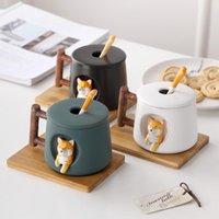 Mugs Creative Ceramic Personality Cute With Coffee Cups Shiba Inu Cat Mug Lid Tea Dog Cup Kawaii Set