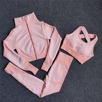 Трех частей наборов женщин беговые костюмы высокой талии леггинсы спортивный бюстгальтер куртка йога ткани тренировки брюки тренажеров топы S M L