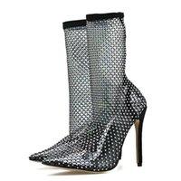 Платье Обувь Ranmo Женщины Сандалии Сексуальные Высокие каблуки Ночной Круглый Хруб Горный Хорбушка Направленные Носки Роскошные Сетки Носки Fishnet на колене
