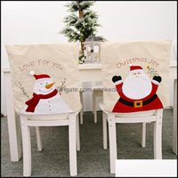 Chair Sashes Textiles Home & Gardenchair Ers Christmas Linen Er Santa Claus Snowman Embroidery Back Year Ornament Drop Delivery 2021 Nzkxf