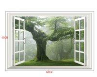 Pegatinas de pared Verde Old Forest Tree 3D Ventana Ver calcomanía Una etiqueta engomada grande Decoración de la pared Sala de estar Casa DIY DTT6