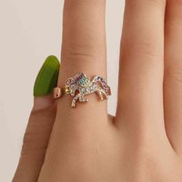Accessories temperament color pony mouth adjustable ring women's diamond inlaid handpiece