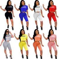 S ~ 5XL Sommer Yoga Sweatsoits Plus Size Frauen Trainingsanzüge Jogging Anzug Buchstaben Outfits Zwei Teile Sets Crop Top + Shorts Radfahren / Biker Sportswear Kurzarm T-Shirts 4852
