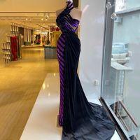 Stylish Purple Mermaid Evening Dress Sequins 3D Floral Velour Prom Gowns with Overskirt Women Formal Wear Vestidos De Novia