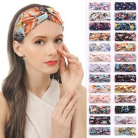 2021 Hair Accessories Bohemian Sports Yoga Headbands Elastic Broad Border Floral Cross Women Headband Bandanas 26 styles