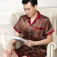 Luxury Silk Pajamas For Mens Royal Satin Suit For The House Mens Printed Pajamas Cashew Flowers Summer Set Man Loungewear Gold