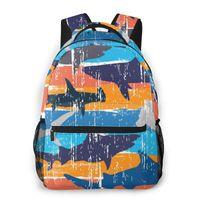 Backpack Mountaineering Grunge Colored Sharks Shoulder Bags Backpacks