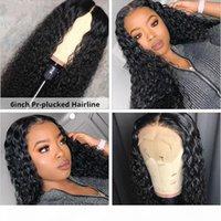 Brasilianische tiefe lockige 13x6 Spitze-Front-menschliche Haarperücken mit babyhaar kinky lockig 360 spitze frontale Perücken für schwarze Frauen