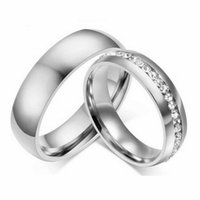 Wedding Rings 1 Pair Silver Color Band Couple Never Fade Sparkly CZ Titanium Jewelry Men Women Promise Engagement Ring
