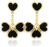 Moda Beautiful Four Leaf Clover Love Love Dangle Long Stud Orecchini con Agata 18K Gold S925 Argento per Van Womengirls Wedding Valentine's Day Jewelry Regali