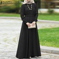 Женщины Осень Платье с длинным рукавом Повседневная Сплошная Kaftan Abaya Dubai Hijab Мусульманский Свободные Sundress Maxi Vestido S-5XL Платья