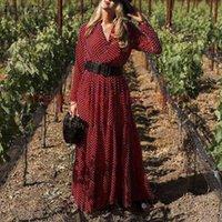 Bohemian Polka Dot Printed Maxi Dress Women 2021 Vintage Ruffles Holiday Long Vestidos Spring Sleeve Sundress S-5XL Casual Dresses