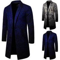 Erkek yün karışımları sonbahar kış uzun yün ceket rahat yaka yaka tek göğüslü dış giyim n80