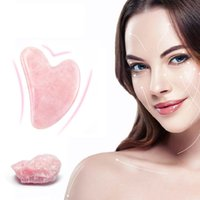 Rose Quartz Jade Guasha Board Pink Natural Stone Arts e Artigianato Raschietto Raschietto Gua cinese SHA Strumenti per viso collo posteriore Body Agopuntura Terapia di pressione WLL866