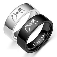 Vintage Fashion Stainless Steel Band Rings Men Women Pesonality Hand in Hands Classic Black and White Couple Ring Jewelry Gift