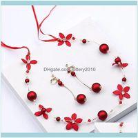 Necklace Jewelryromantic Red Flower Pearl Headbands & Earring Sets For Women Bridal Headpiece Bijoux Wedding Hair Aessories Jewelry Earrings