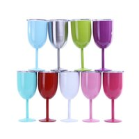 10oz Stainless Steel Wine Glasses Stemless Tumbler Goblet Red Wine-Glasses With Lids Cocktail Mug Solid Colors DIY Cup Sea send T9I001455
