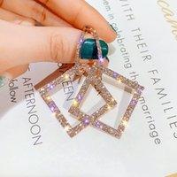 925 silver needle EurAmerican hyperbole set diamond square fashion earrings female Korea long style personality ear nail earrings