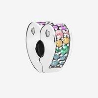 Pierres de couleur CZ Diamond Clip Charms Bracelet Accessoires avec boîte pour Pandora 925 Sterling Silver Heart Clips