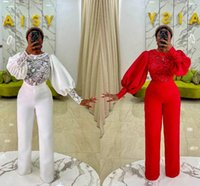 Red Plus Size Jumpsuits Prom Dresses Lace stain Long Sleeve African Women Formal Evening Gowns with Pant Suits