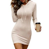 Casual Dresses Women Lady Dress 2021 Solid Color Hooded Slim Sexy Drawstring Long Sleeve Autumn Sheath For Daily Wear