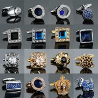 Novidade Luxo Branco Azul Para Mens Marca Alta Qualidade Crown Crystal Gold Silvery Cufflinks Camisa Cuff Links