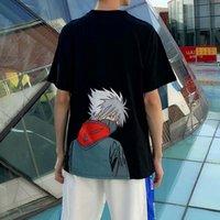 Erkek Gevşek Uydurma Anime Naruto Kısa Kollu Tişört Yaz Büyük Ins Moda T-shirt