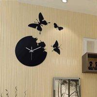 クリエイティブメタルDIY時計針静かなクォーツ壁の時計時計ホームホールバタフライ装飾現代の時間ホロロロジーSH190924