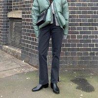 Limiguyue Jeans de mezclilla recto mujeres de cintura alta, pantalones divididos de cintura alta, primavera de verano, pantalones, pantalones, slim Femme K599, mujeres
