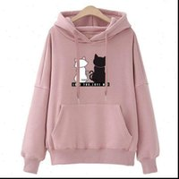 Autumn Casual Long Sleeve Hooded Womens Hoodies Pullover Printed Cats Jumper Tracksuits Sportswear