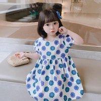 Vestidos de niña 2021 Frock Floral Baby Baby Chica de 2 años Sensación de Internet de 2 años 3 Impresión completa Girasol Puff Manga Moda