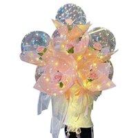 2021 Decoração de festa Dia dos namorados LED Balões Luzes Luminous Bobo Bola Balão Flashing Light Rose Bouquet Amante Presentes Para Aniversário Casamento 404 S2