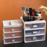 Storage Boxes & Bins Three-layer Plastic Cosmetic Box Desktop Drawer Office Makeup Lipstick Organizer Bathroom Rack