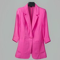 Women Cool Pink Blazer 2021 Summer Fashion Lady Sexy Thin Cotton Jackets Elegant Female Chic Suits Casual Girls Top Oversize 5XL Women's & B