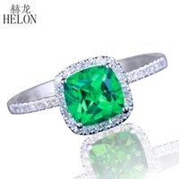 Anéis de cluster Helon Sólido 10K almofada de ouro branco 6mm genuíno tratado diamantes esmeralda anel de noivado mulheres aniversário presente de aniversário