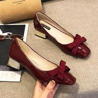 Chaussures de robe Bridemaid Pompes de mariage Femmes Square-Hauts High-High-High-High-High-High-High-High-High-Highté Cuir Japonais Bowtie Mary Jeans