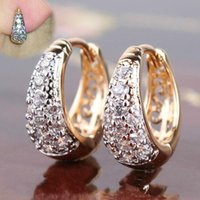 Round Gold-plated Inlaid Crystal Zircon Metal Geometric Fashion Ladies Earrings Wedding Exquisite Jewelry Dangle & Chandelier