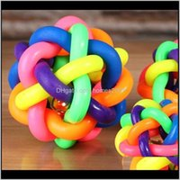 Chews Supplies Home & Garden5Cm Colorful Rainbow Toy Cat Dog Ball Bell Chew Toys Play Teeth Training Pet Product 223 V2 Drop Delivery 2021 Nk