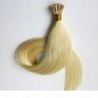 Предварительно связанные бразильские волосы I наконечники человеческие наращивания волос 50 г 50strands 18 20 22 24 дюйма # 60 Platinum блондинка индийских волос