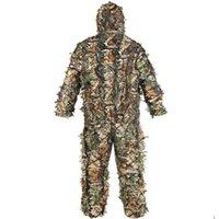 Avcılık Setleri Açık Erkekler Kadınlar Çocuk Ghillie Suit Kamuflaj Giyim Orman CS Eğitim Yaprakları Giyim Pantolon Kapüşonlu Güzel