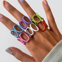 Cluster ringen ingemark 2021 zomer kleurrijke geometrische acryl ring snoep kleur onregelmatige hars open voor vrouwen partij vinger sieraden