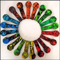 Bunte Graffiti-Silikon-Rohr-Silikon-Rauchrohr-Silikon-Rauch-Tabakrohr mit Edelstahl-Schüssel-Silikon-Handleitungen rauchen Herb