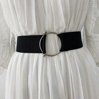 Belts For Women Simple Waist Elastic Ladies Round Buckle Black White Wide Band Coat Sweater Dress Belt