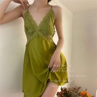 Pants Spring and summer new women's nightdress sexy lace temptation sling ice silkwith chest cushion thin home clothes