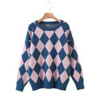 N0064-Korean Style Women's Clothing 2021 Autumn Winter Round Neck Diamond Contrast Color Plaid Casual Sweater Sweaters