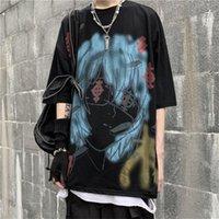 Men's T-Shirts Student Harajuku Tshirt Streetwear Men Dark Style Cartoon Summer Loose Oversized High Street Cool T Shirt Fashion Male