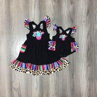 Vestidos de niña Vestido de verano Girlymax Baby Girls Vaca marino Serape Leopardo Ropa Ropa Boutique Boutique Rodilla Longitud Ruffles Algodón Ropa para niños