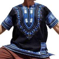 Erkek Dashiki Vintage T Shirt Polyester Bohemia Retro Erkek Afrika Baskı T-shirt Etnik Geleneksel Tees Artı Boyutu Şort Çanta Paketleme