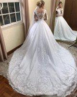 2021 Vintage manga larga Una línea vestidos de novia árabe apartado de encaje apliques vestidos de novia con tren de corte más tamaño de maternidad