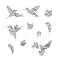 Колибристые наклейки статического окна Hummingbird цепляются наклейки против столкновения для забастовок птицы наклейки на накладки стекла, остановка птиц, летящих в гоме 20